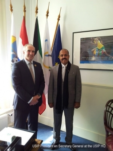 Secretary General and USIP President at USIP HQ.