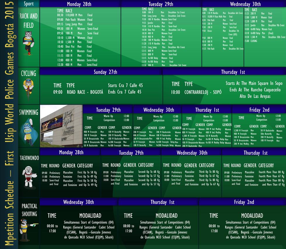 schedule-world-police-games-bogota-2015